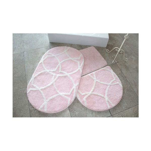 Zestaw 3 różowych dywaników łazienkowych Confetti Bathmats