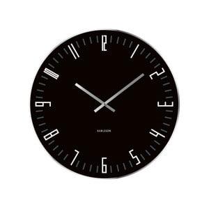 Czarny zegar ścienny Present Time XL Slim