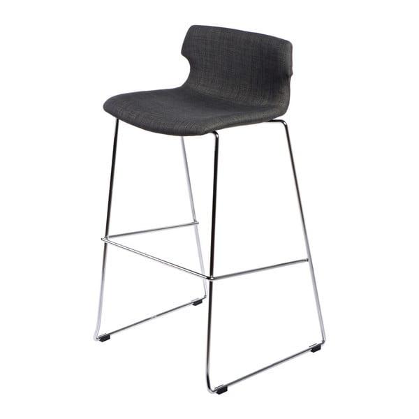Krzesło barowe D2 Techno, tapicerowane, grafitowe