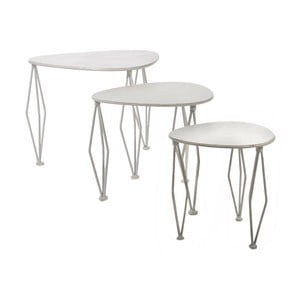 Zestaw stolików Shaped White, 3 szt.