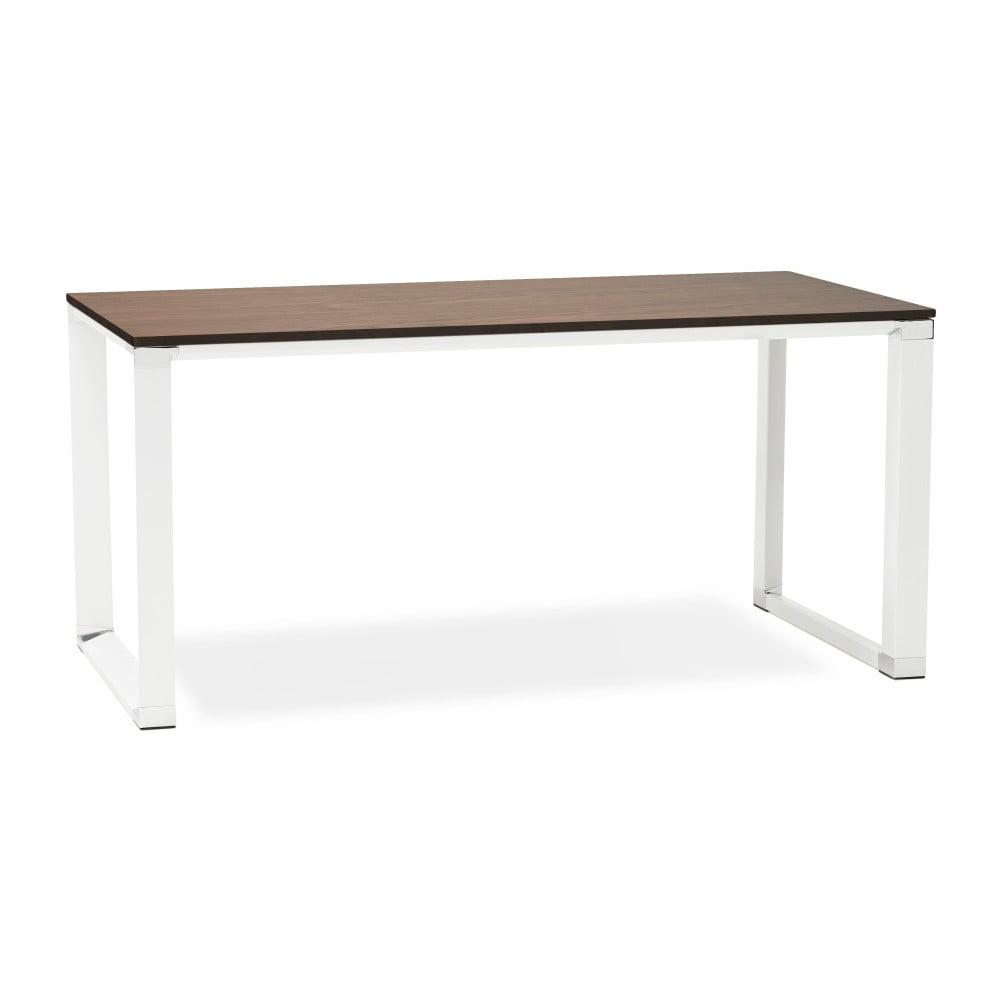 Białe biurko z blatem z dekorem drewna orzecha Kokoon Warner