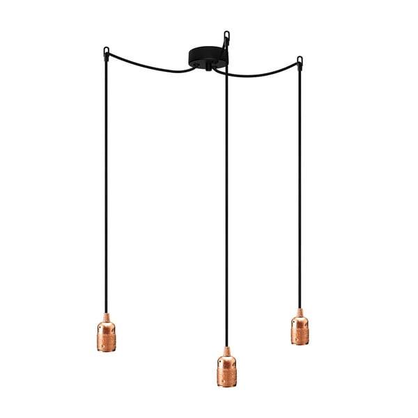 Czarno-miedziana potrójna lampa wisząca Bulb Attack Uno