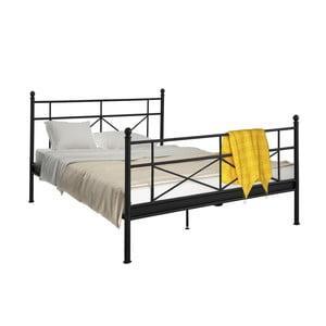 Czarne łóżko metalowe Støraa Tanja, 180x200cm