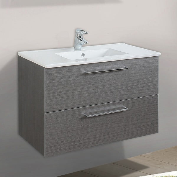 Szafka do łazienki z umywalką i lustrem Giro, odcień szarości, 70 cm