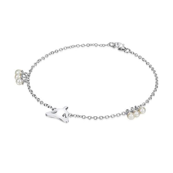 Srebrna   bransoletka z perłami i zawieszką Chakra Pearls Lotus, 17 cm