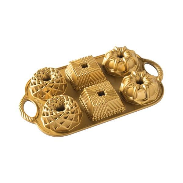 Forma na 6 babeczek w złotym kolorze Nordic Ware Minimix, 800 ml