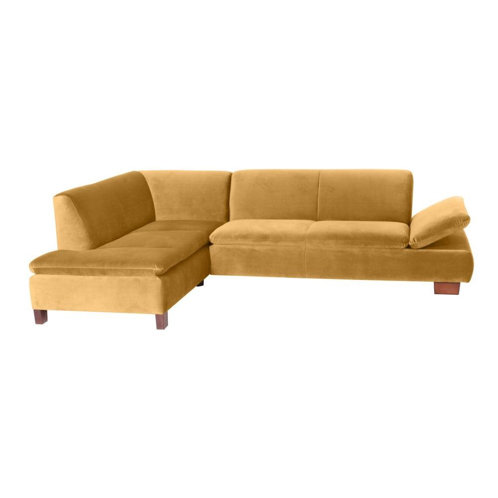 Żółta sofa narożna lewostronna z regulowanym podłokietnikiem Max Winzer Terrence Williams