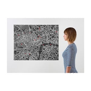 Czarna mapa ścienna Palomar Pin Londyn
