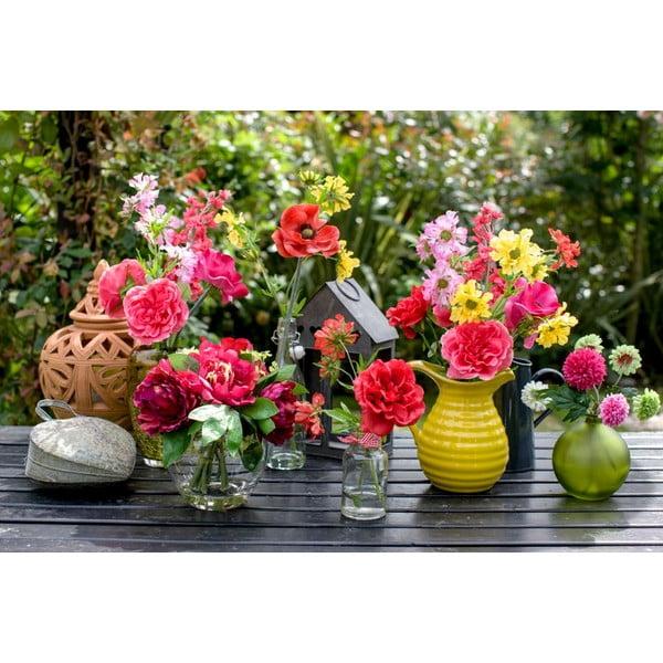 Szklany wazon ze sztucznym kwiatem Hydrangea, 26 cm