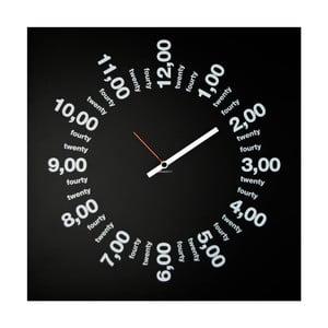 Zegar ścienny dESIGNoBJECT.it Only Hours Black,50x50cm