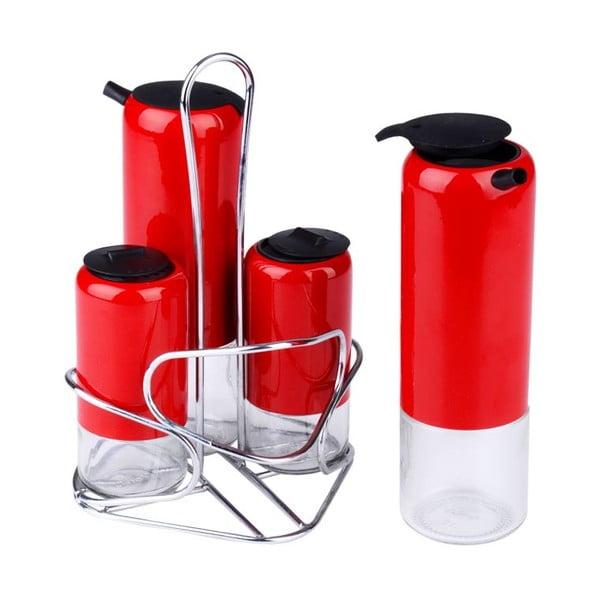 Zestaw 4 pojemników na przyprawy Lux Red