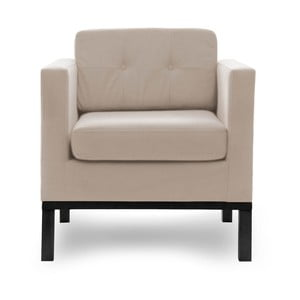 Beżowy fotel z czarnymi nogami Vivonita Jonan
