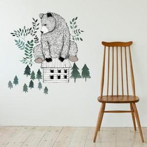 Naklejka dekoracyjna na ścianę Bear and Cabin