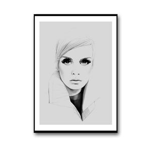 Plakat autorski Twiggy in Grey, 30x40 cm