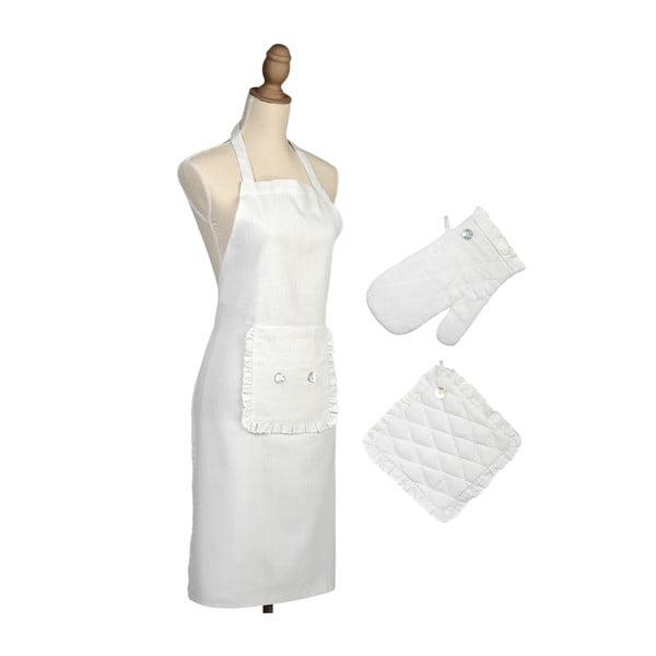 Komplet: fartuch, rękawica, podkładka pod garnek Button
