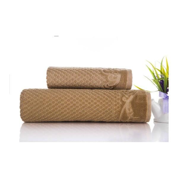 Zestaw 2 ręczników Acustic Light Brown, 50x90 cm i 70x140 cm