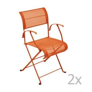 Zestaw 2 pomarańczowych krzeseł składanych z podłokietnikami Fermob Dune