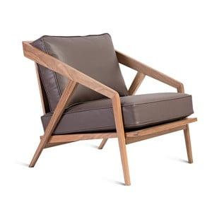 Brązowy fotel skórzany z konstrukcją z drewna orzecha Charlie Pommier Serious