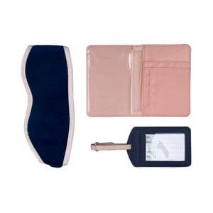 Niebieski zestaw podróżny: etui na paszport, etykieta na bagaż i opaska na oczy Tri-Coastal Design