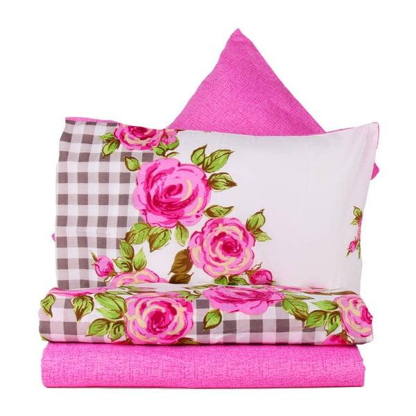 Różowa pościel na łóżko jednoosobowe z prześcieradłem Love Colors Florid, 160 x 220 cm