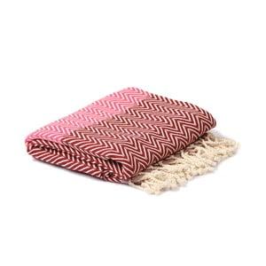 Czerwono-różowy ręcznik hammam Spa Time Zig, 95x180cm