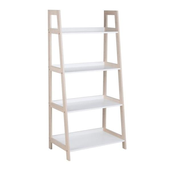 Biały regał 4-poziomowy z bambusową konstrukcją Actona Wally