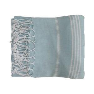 Niebieski ręcznie tkany ręcznik z bawełny premium Sultan,100x180 cm