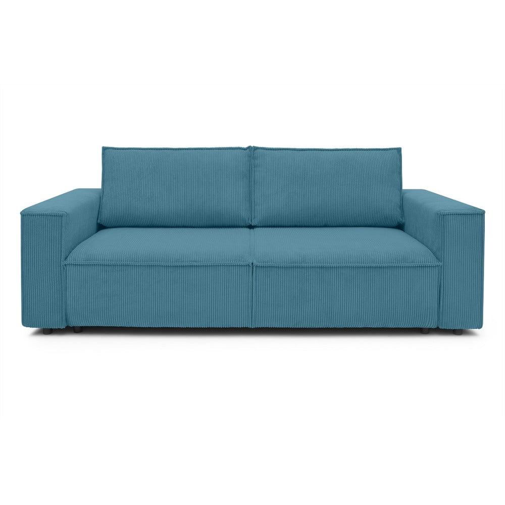 Turkusowa sztruksowa sofa rozkładana Bobochic Paris Nihad, 245 cm