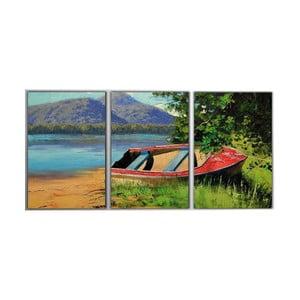 Trzyczęściowy obraz Red Boat, 45x90 cm