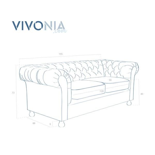 Oliwkowa  sofa trzyosobowa Vivonita Chesterfield