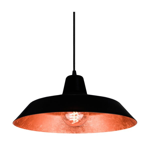 Czarno-miedziana lampa wisząca Bulb Attack Cinco