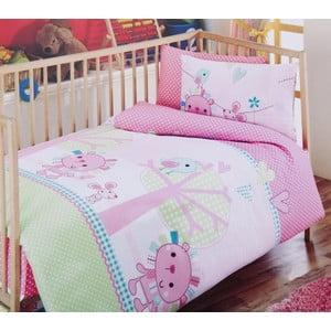 Zestaw dziecięcej pościeli i prześcieradła Pink Green, 120x150 cm