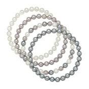Komplet bransoletek z szarobiałymi perłami Perldesse Beria, dł. 19 cm