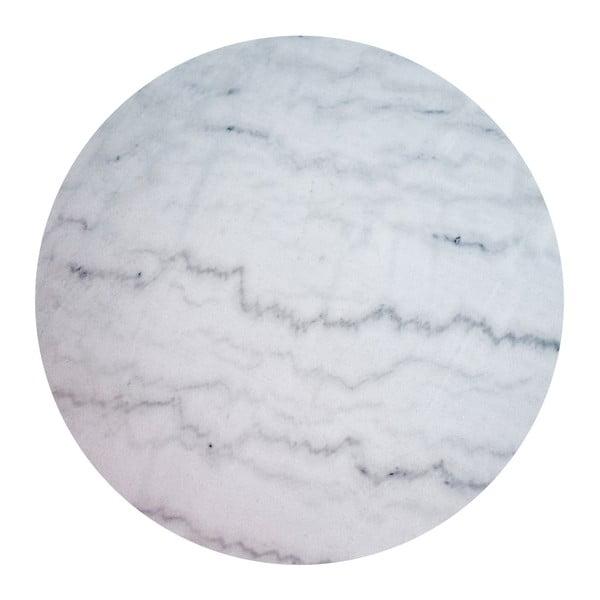 Biały stolik marmurowy z chromowaną konstrukcją RGE Accent, ⌀85cm
