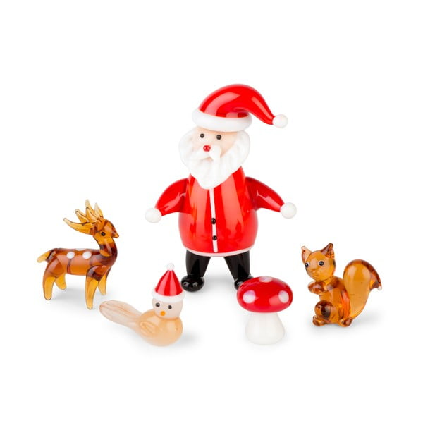 Zestaw 5 dekoracji Santa & Forest Friends