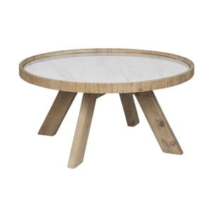 Drewniany stolik z białym blatem J-line Cer,79 cm