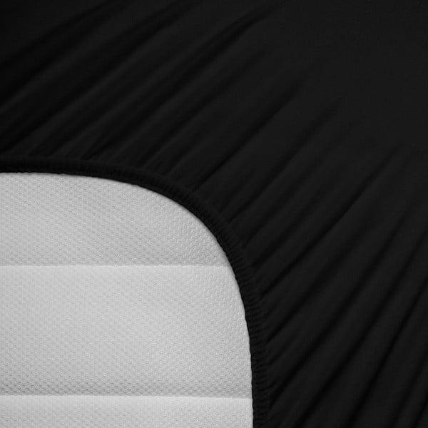 Czarne prześcieradło elastyczne Homecare, 80-100x200 cm