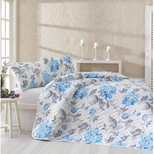 Komplet narzuty i 2 poszewek na poduszki Flower Blue, 200x220 cm