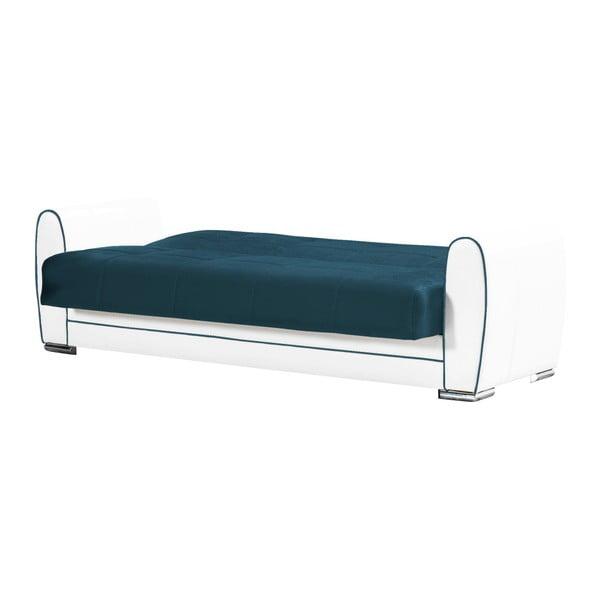 Morsko-kremowa dwuosobowa sofa rozkładana ze schowkiem Esidra Rest