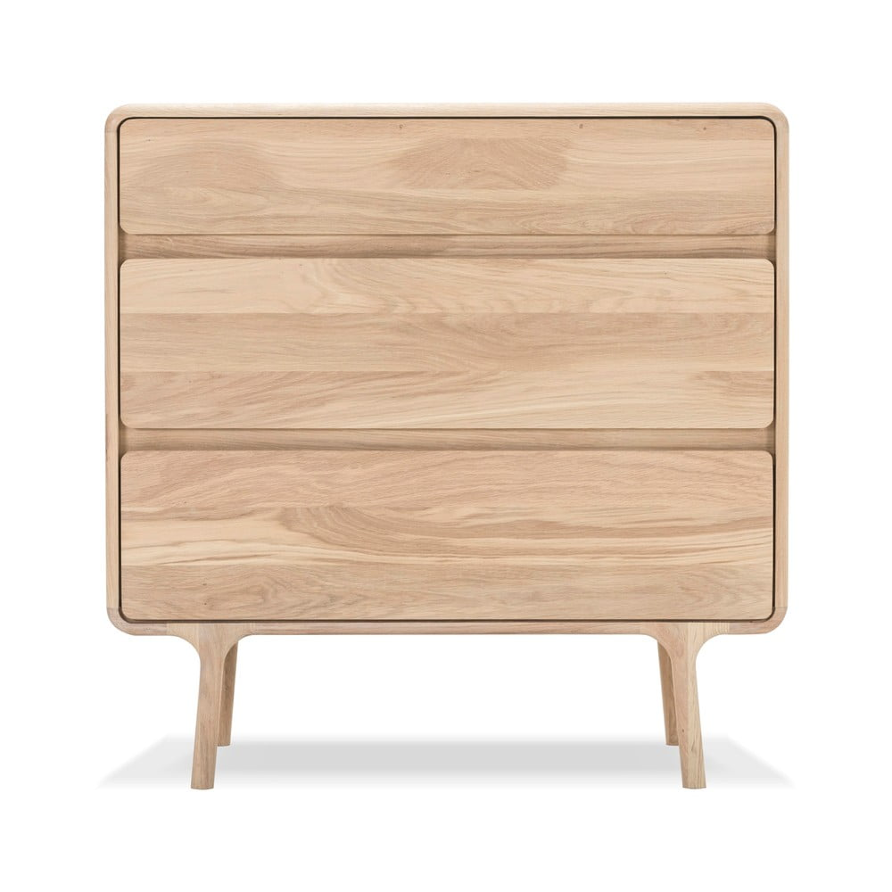 Komoda z litego drewna dębowego z 3 szufladami Gazzda Fawn