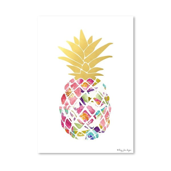 Plakat Watercolor Floral Pineapple