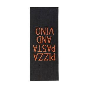 Czarny chodnik do kuchni Zala Living Pizza Pasta and Vino, 67x180 cm