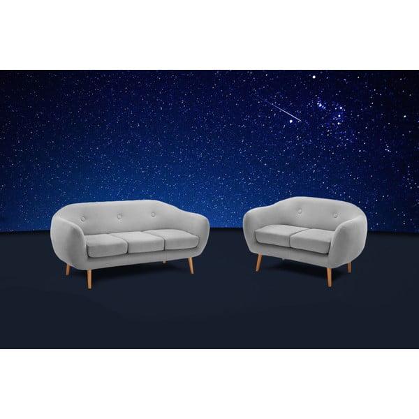 Szara sofa dwuosobowa Stella