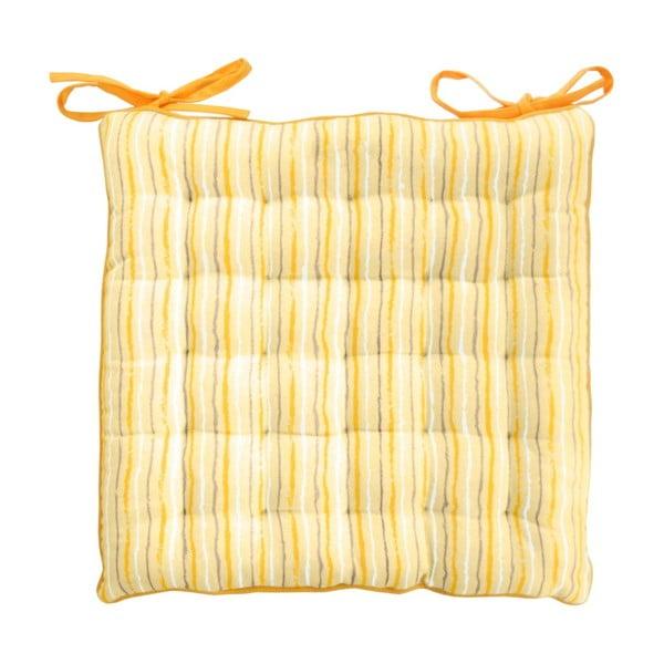 Żółta poduszka na krzesło w paski Ragged Rose Paddy