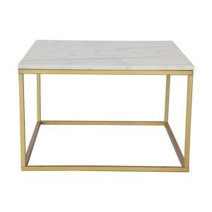 Marmurowy stolik z konstrukcją w kolorze mosiądzu RGE Accent, 75x75cm