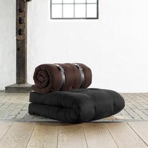 Fotel rozkładany Karup Buckle Up Black/Brown