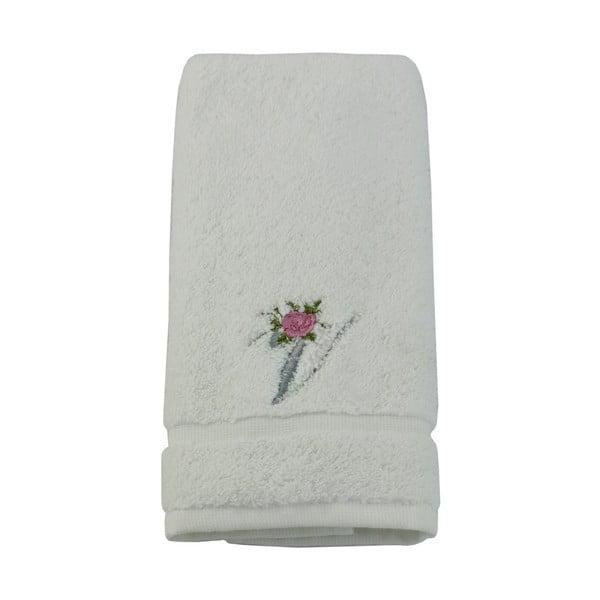 Ręcznik z inicjałem i różyczką V, 30x50 cm