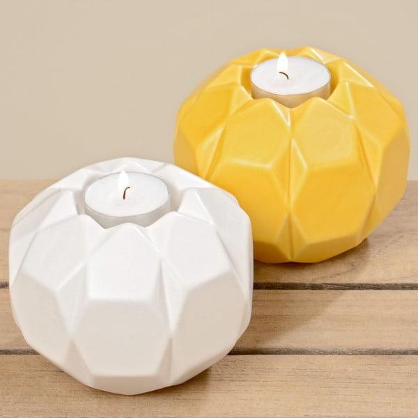 Zestaw 2 świeczników Origami White Yellow