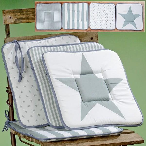 Komplet 4 poduszek na krzesła Grey Star, 38x38 cm