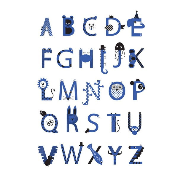 Plakat Alphabet Blue, 30x40 cm